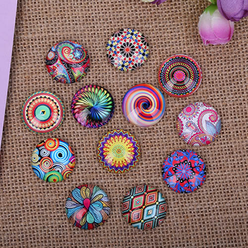 8 10 12 14 16 18 20 25mm Random  Mixed Retro Flowers Round Glass Cabochon Flatback Photo Base Tray Blank DIY Making Accessories