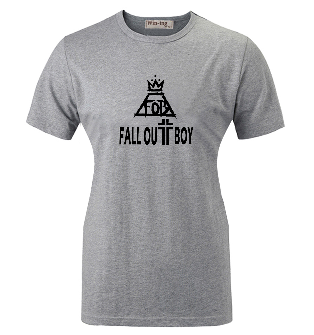 Shirt design boy 2016 - Summer Fashion Casual Cotton Round Neck T Shirt Punk Fall Out Boy Band Fob Art Graphic