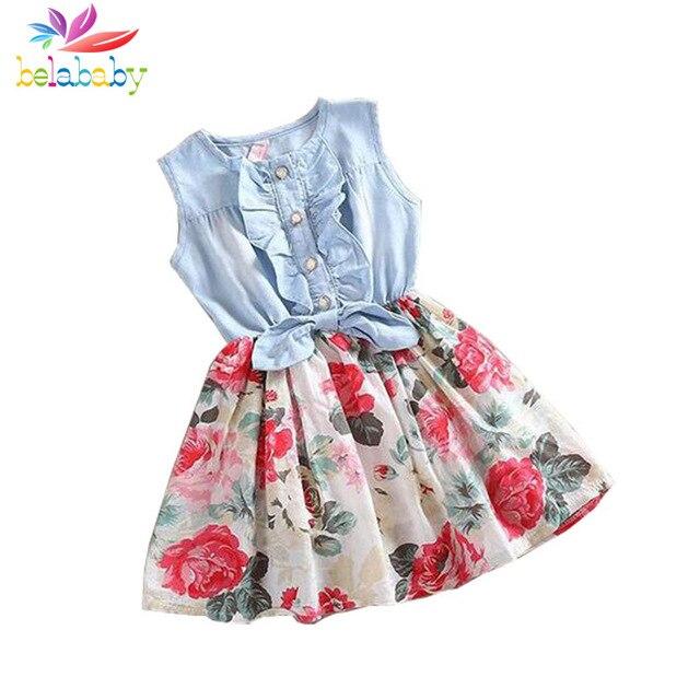 Belababy девочка платье 2017 летние дети рукавов девушка denim цветочные платья дети принцесса бантом платья для девочек