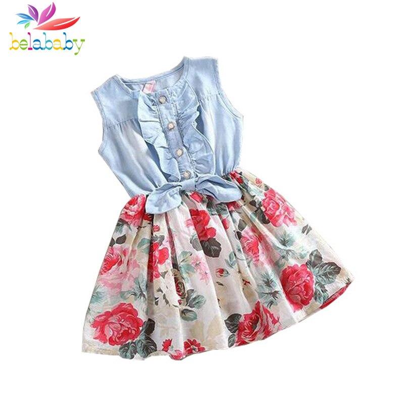 Belababy/Платье для маленьких девочек 2018 летние дети рукавов деним Платье с цветочным узором с кнопкой дети принцесса летние платья для Обувь для девочек