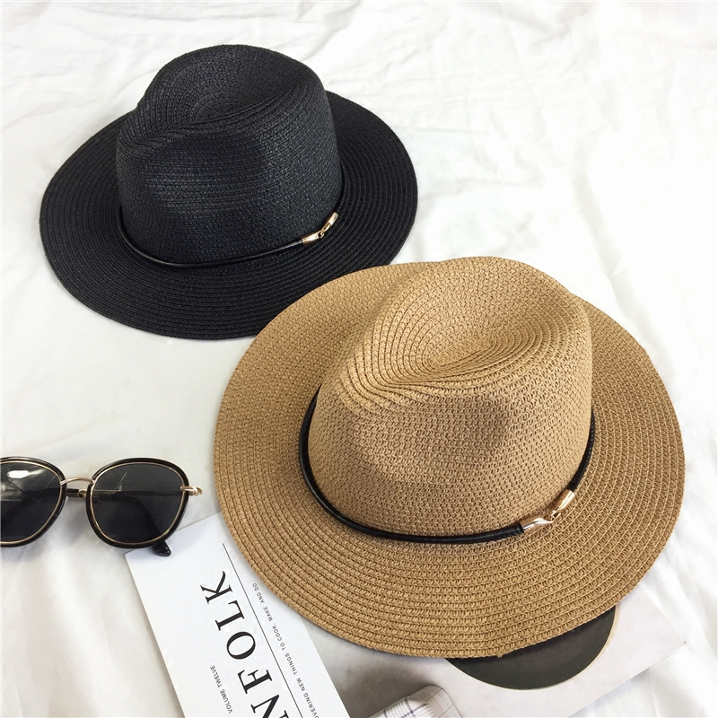 Metal button Simple wild summer travel sun hat Woman beach sunscreen big  hooded jazz hat 3b610adcdff