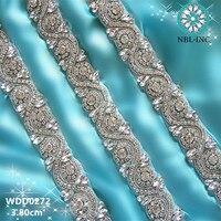 (1 야드) 수제 신부의 띠 파란색 바느질 크리스탈 유리 실버 라인 스톤 아플리케 웨딩 드레스 트림 철 WDD0272