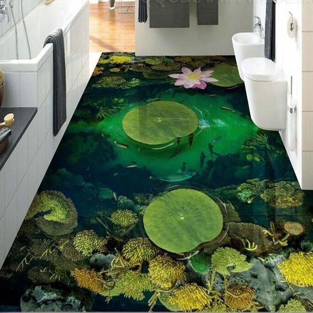 fish Lotus flower PVC floor Wallpaper Murals Bathroom Kitchen Wall Paper Rolls Vinyl Self Adhesive flooring Wallpapers Sticker