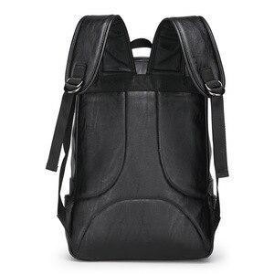 Image 2 - كمبيوتر محمول حقائب جلدية للرجال على ظهره 15.6 بوصة شنطة ظهر للكمبيوتر المحمول الذكور حقائب مقاوم للماء الأعمال السفر متعددة الوظائف على ظهره