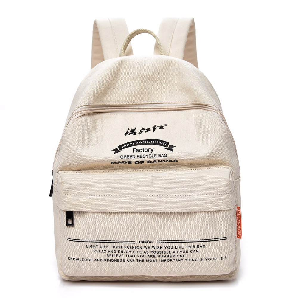 2017 Fashion Women Canvas Backpack For Teenage Girls School Bags Ladies White Backpack Female Travel Bag