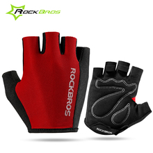 ROCKBROS Bicycle Gloves Fingerless Padded Half Finger Bike Gloves Outdoor Sport Gloves MTB Motorcycle Ciclismo Guantes
