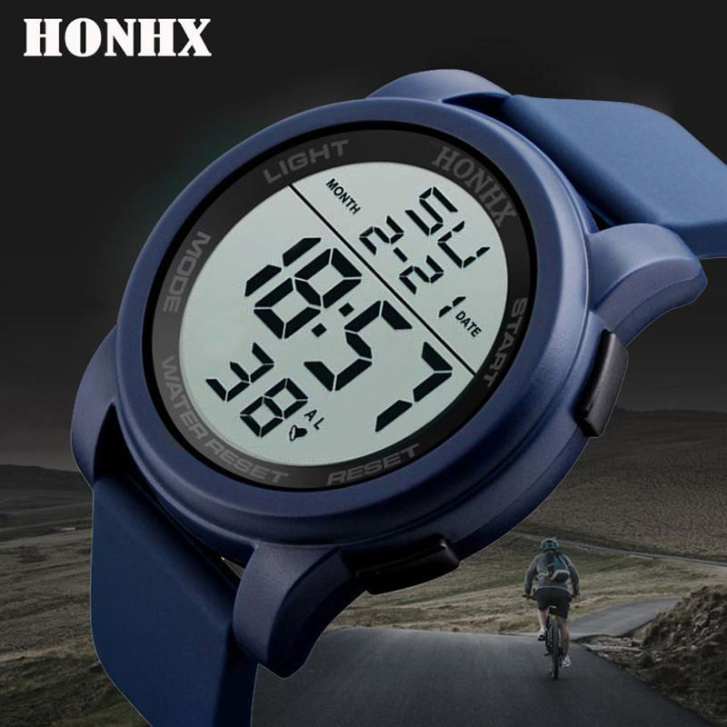 HONHX Hot Sale Fashion Women's LED Digital Stopwatch Date Rubber Sport Wrist Watch Waterproof Drop Shipping Relogio Feminino#B