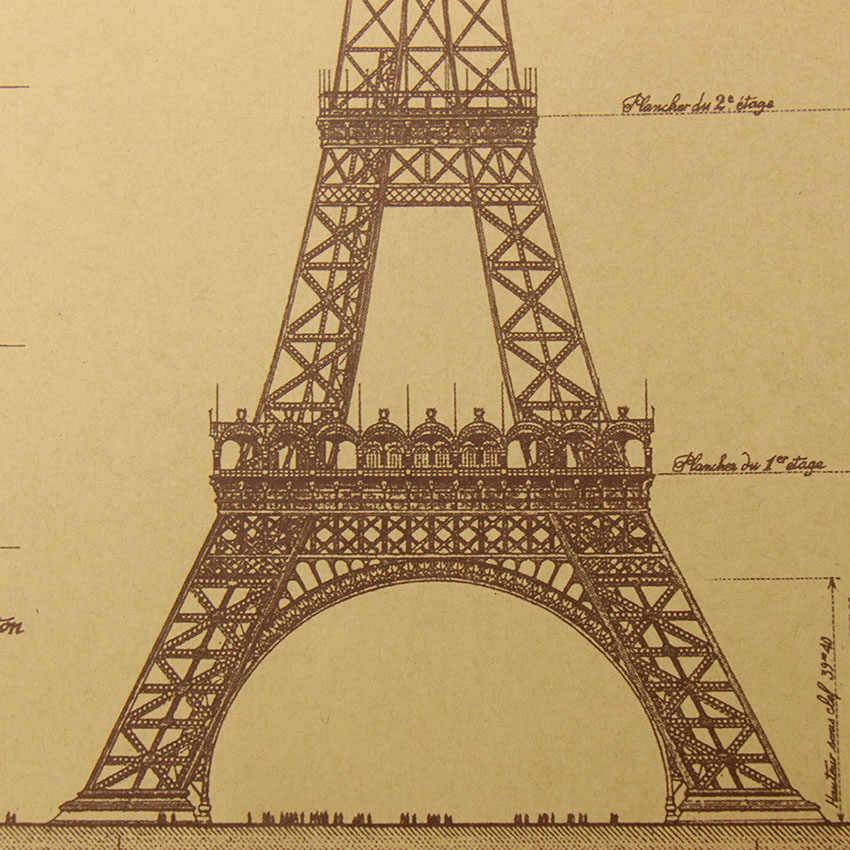 Плоский стикер на стену Ретро плакат на крафт-бумаге нарисованные вручную эскизы башня Парижа наклейки на стену бар кафе декоративные картины для дома 51,5X36 см