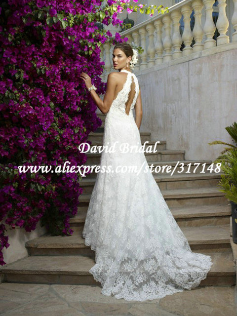 New Style A Line Halter Top Open Back Lace Wedding Dress Ef1443