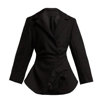 AEL Офисные женские туфли из хлопка и льна повседневный костюм, жакет нерегулярные Ruched Блейзер модная верхняя одежда Весна Высокое качество Для женщин Clothing2019 - Цвет: Черный