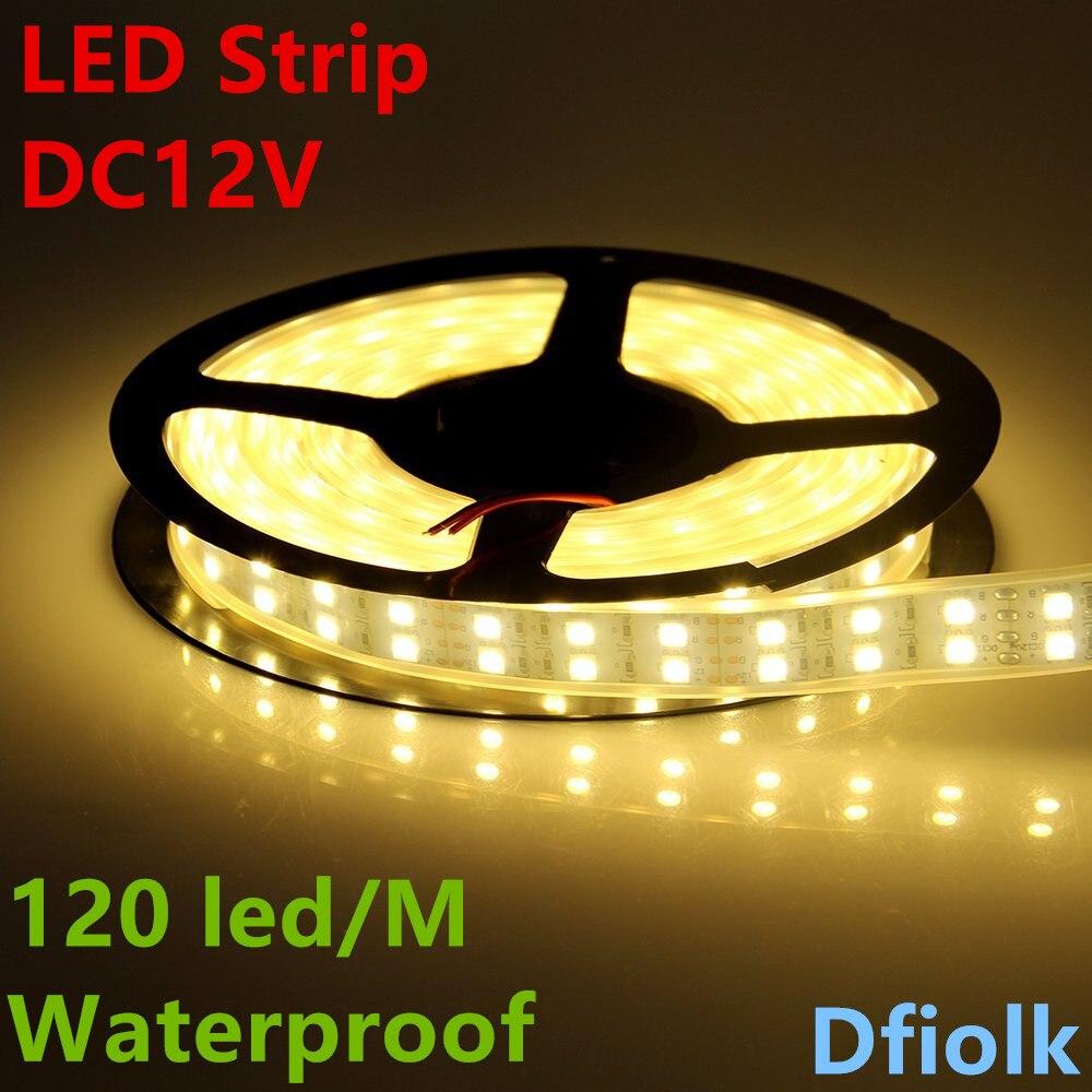LED strip light 5050 silicon tube rope ribbon waterproof ip68 double row 600led 5m dc12V 3000K 6500k white warmwhite RGB tape auxmart triple row led chips 12 led