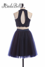 modabelle New Navy Blue A Line Beaded Mini Homecoming Dress For Teens Tulle Vestidos Cortos 15 High School Graduation Gowns