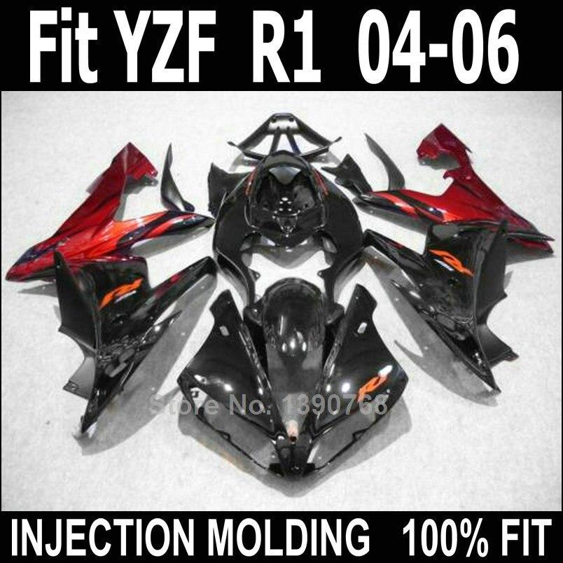 Fairing kit for Yamaha injection molded YZF R1 2004 2005 2006 black red body work fairings set YZFR1 04 05 06 NV14