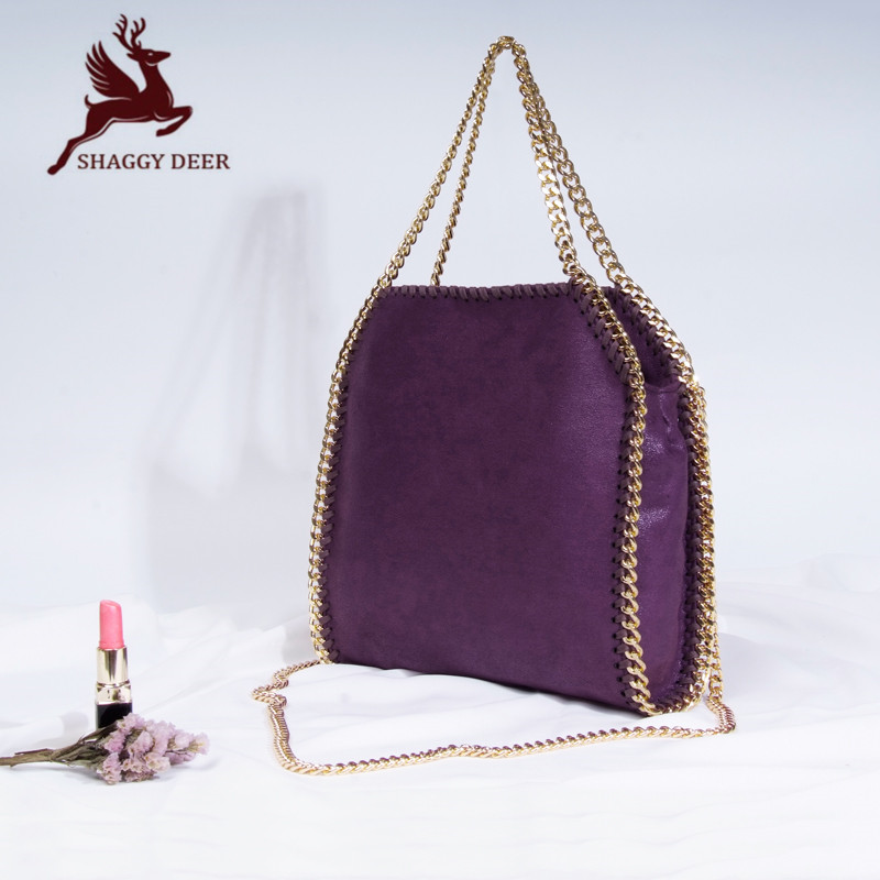 High End Shaggy Deer Luxury PVC Material Golden Chain Fold-Over Ladies Totes 25CM Small crossbody  Stella Chain Bag mini gray shaggy deer pvc quilted chain bag with cover real picture