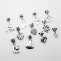 Mix heart charm 33pcs European pendant big hole loose beads fits Pandora Charms Bracelets & pendants diy Jewelry