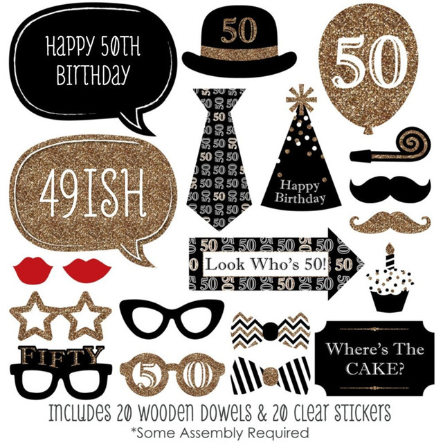 new diy photo booth props funny adult 50th birthday stick paper crafts birthday sign photo prop