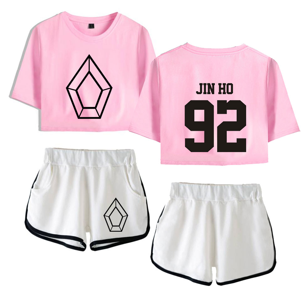 Hot Arrive Pentagon Exposed Navel Pink T Shirt+white Shorts Women's Two-piece Sets Fashion Summer Casual Girl's Two-piece Sets