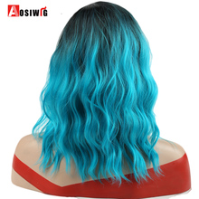 """AOSI WIG 14"""" Synthetic Ombre Red Blue Pink Wigs Heat Resiatant Short Water Wave False Hair for African American Women"""