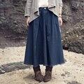 XianRan Primavera Mulheres Saias Longas Da Moda A Linha de Algodão Linho Dobra de Três Cores de Alta Qualidade Frete Grátis