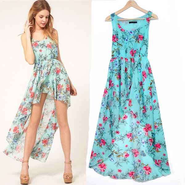 2014 Hot Sale Summer Vintage Chiffon Dress Flower Print ...