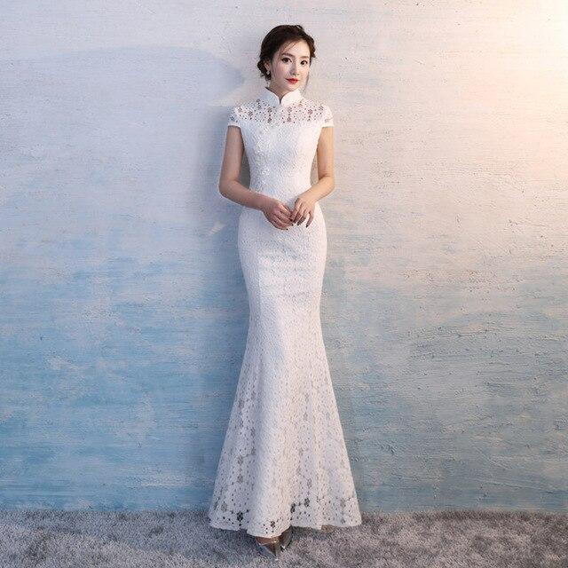 Modern Qipao Long White Lace Cheongsam Sleeveless Chinese Traditional  Wedding Dress Oriental Clothing Store Robe Chinoise 7891b9cb8dfb