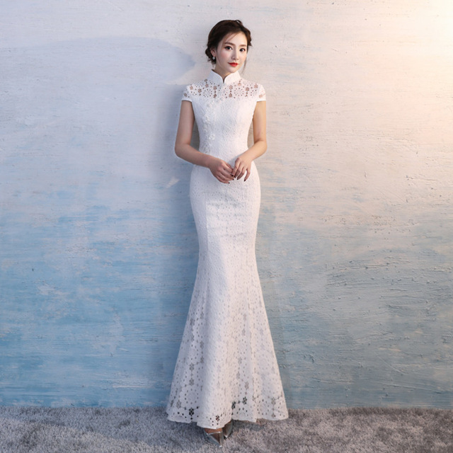 Qipao Moderne Longue Dentelle Blanche Cheongsam Sans Manches Chinois Traditionnel Robe De Mariee Oriental Magasin Vetements Chinoise
