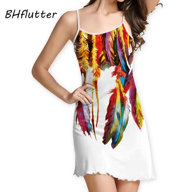 185f61ca8 BHflutter vestido de verano blanco novedad 2018 vestido de mujer de moda  estampado de plumas Mini