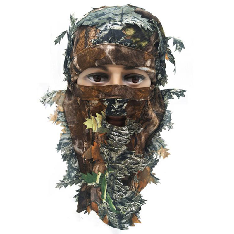 3D Unisex Leaf Blind Mask Outdoor Multi-functional Camping Hunting Bionic Camouflage Headgear CS Cover Equipment Leaf Mask