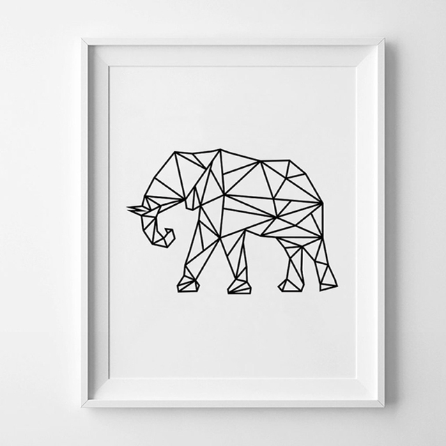Modern Geometric Elephant Wall Art, Scandinavian Black Art ...