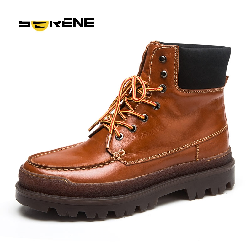 Nice Winter Men Cow Leather Work Boots Fashion Casual ...