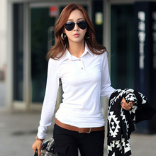 bb0ab48f146 Spring Autumn Casual Polo Women 2019 New Long Sleeve Slim Polos Mujer Black  White Red Tops