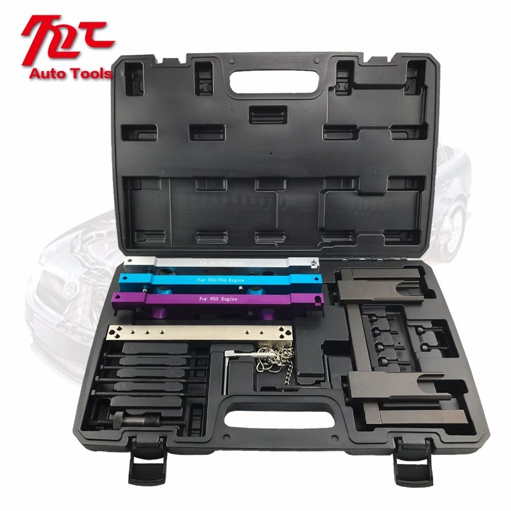 Купить с кэшбэком Car Garage Tools For BMW N51 N52 N53 N54 N55 Camshaft Vanos Flywheel Timing Tool Set Engine Timing Tools