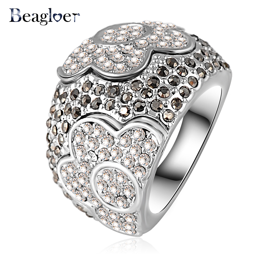 Beagloer Newest Fashion Silver Color Austrian Crystal Noble Flower Engagement Rings for Women Wedding Jewelry Ri-HQ0045