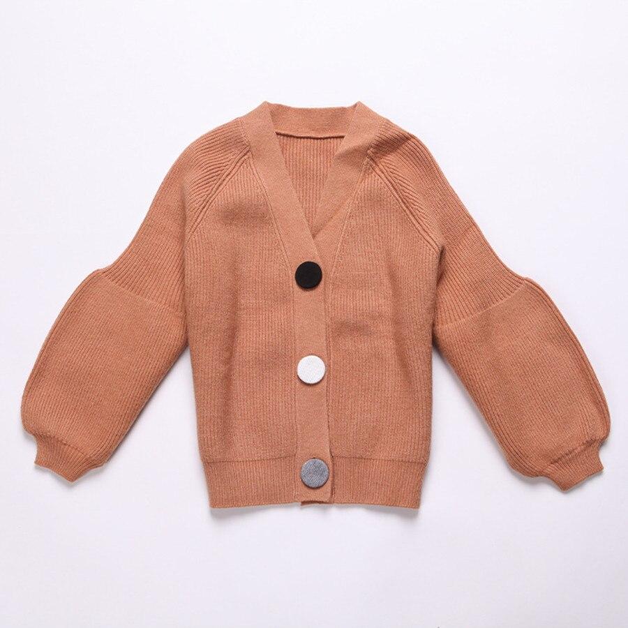 Girls Cardigan European Khaki Knitted Long Sleeve Sweater Kids ...