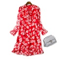 Stunning sexy women silk dress rose floral patterns print bow tie ruffle long sleeve casual dresses new 2017 spring summer red