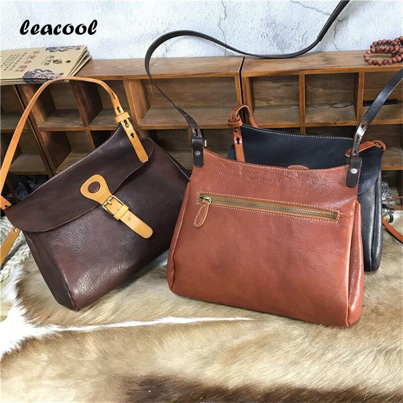 Фотография Leacool Fashion Women Vegetable Tanned Leather Tote Bag Messenger Bag Buckle Belt decoration Handbag Fashion Ladies Shoulder Bag