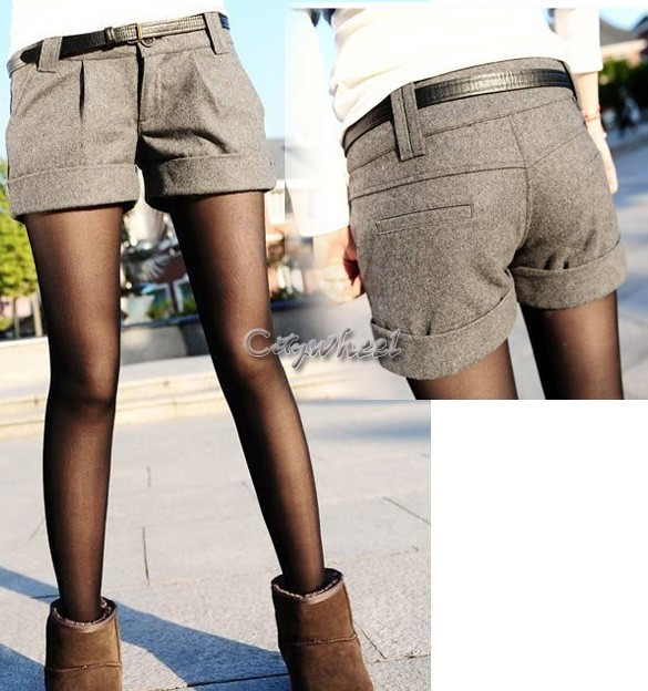 0fbe3205aa64 2015 Hot Sale autumn and winter shorts women woolen bootcut short pants  casual shorts black grey