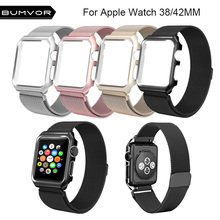 BUMVOR 38/42/mm Strap For Apple Watch Stainless Steel Mesh Magnetic Replacement Wrist Band With Protective Case iWatch