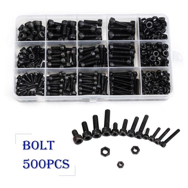 ZENHOSIT Black Carbon-Steel Cylinder Column Hex Hexagon Screw Set 500PCS/Set M3/M4/M5 Furniture Fastener Assorted Kit все цены