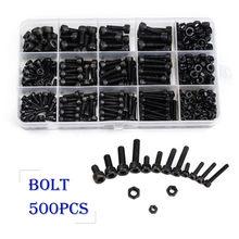 ZENHOSIT Black Carbon Steel Cylinder Column Hex Hexagon Screw Set  500PCS/Set M3/M4/M5 Furniture Fastener Assorted Kit