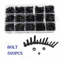 ZENHOSIT Black Carbon-Steel Cylinder Column Hex Hexagon Screw Set 500PCS/Set M3/M4/M5 Furniture Fastener Assorted Kit