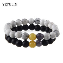 High Grade Black White stone Beads Couple Bracelet For Women Men Bangles Lover Jewelry Gift 2pcs(China)