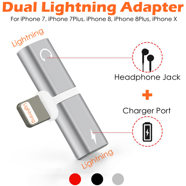 2 Lighting for Dual Lightning Adapter Converter Charging Port with Headphone Jack Splitter Cable Plug for  sc 1 st  AliExpress.com & 2 Lighting for Dual Lightning Adapter Converter Charging Port with ...