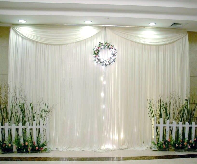 10x10ft Simple Style Glace Soie Toile De Fond De Mariage Avec Top Butin Personnalisé couleur Décoration De Mariage Rideaux
