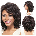 """Old Fashion Full Lace Women Wigs Medium Curly Highlight Pruik Natural 12"""" Hair pieces for European and American"""