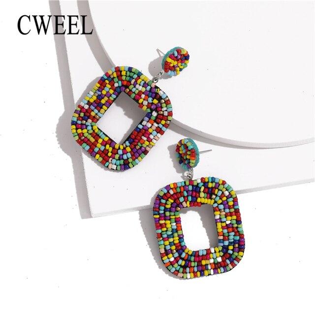 CWEEL Boho красочные бисерные серьги-подвески для женщин девочек свадебные ювелирные изделия 2019 Мода Дизайн Висячие Эффектные серьги