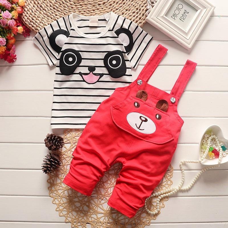 2016 Estilo Moda Verão Roupas Childern Meninos Conjuntos de Roupas de Bebê Panda Bonito Dos Desenhos Animados Conjuntos de Roupas Crianças Meninos Jardineiras Conjuntos de Verão - 2