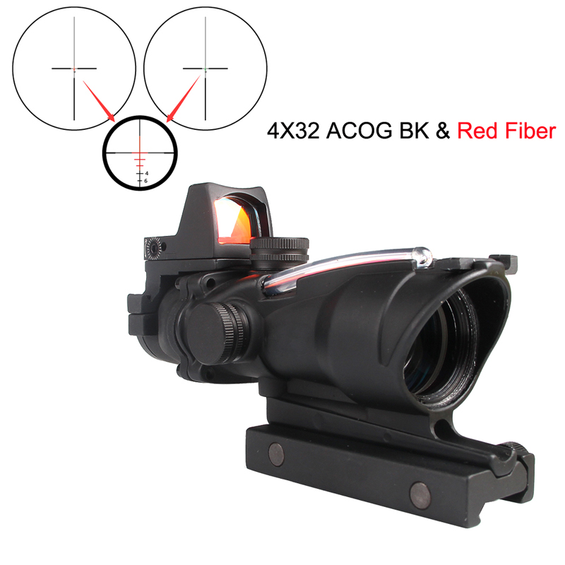 ACOG 4X32 Real Fiber Source Red or Green Illuminated Scope With RMR Mini Red Dot Sight 20mm Rail for Tactical Hunting RL6-0058 riflescope 4x32 compact scope fiber sight sports for 20mm rail red dot sight hunting