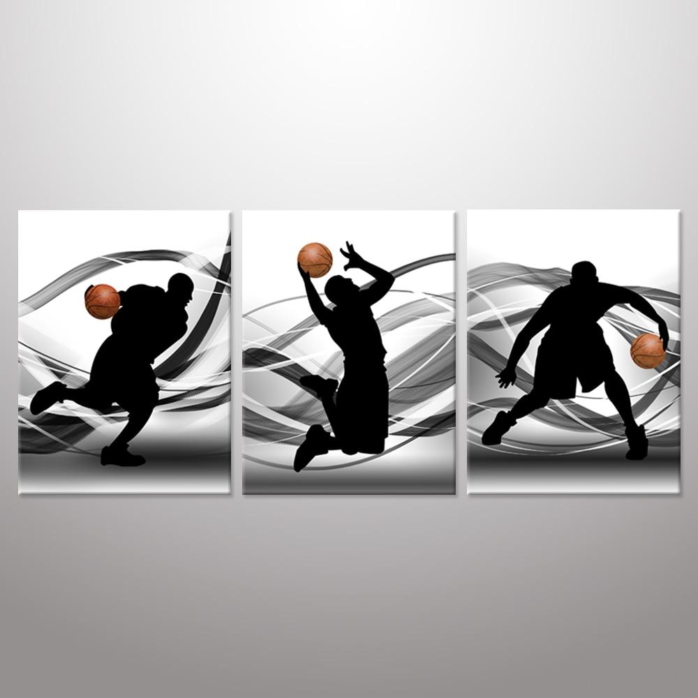 Basketball Sports Canvas Wall Art For Boys Bedroom Decor: Basketball Sports Themed Canvas Wall Art Man Black