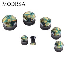 MOSRSA 1Pair Acrylic Ear Gauge Black Plug And Tunnel Art 6mm-20mm Ear Stretcher Expander Screw Fit Plug Bod Jewelry Piercing(China)